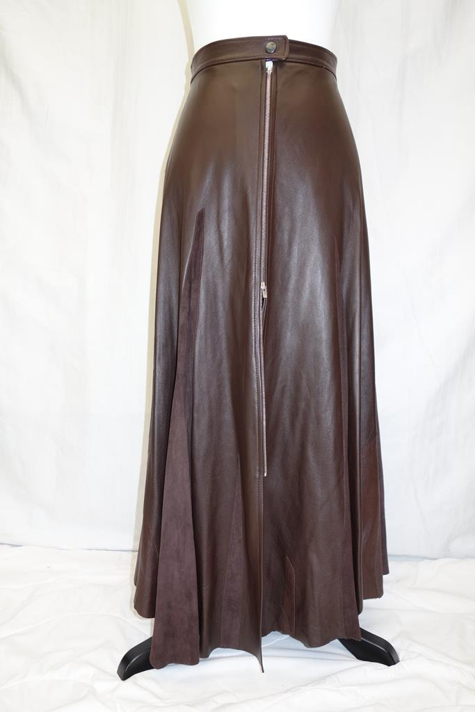 Hannah Leather Fashion Brown long skirt